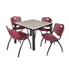 "Kee 36"" Square Breakroom Table- Maple/ Black & 4 'M' Stack Chairs- Burgundy"