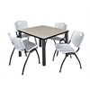 "Kee 36"" Square Breakroom Table- Maple/ Black & 4 'M' Stack Chairs- Grey"
