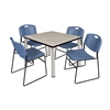 """Kee 36"""" Square Breakroom Table- Maple/ Chrome & 4 Zeng Stack Chairs- Blue"""