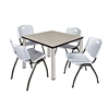 """Kee 36"""" Square Breakroom Table- Maple/ Chrome & 4 'M' Stack Chairs- Grey"""