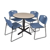 "Cain 36"" Round Breakroom Table- Beige & 4 Zeng Stack Chairs- Blue"