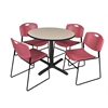 "Cain 36"" Round Breakroom Table- Beige & 4 Zeng Stack Chairs- Burgundy"