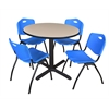 "Cain 36"" Round Breakroom Table- Beige & 4 'M' Stack Chairs- Blue"