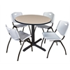 "Cain 36"" Round Breakroom Table- Beige & 4 'M' Stack Chairs- Grey"
