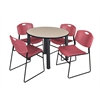"Kee 36"" Round Breakroom Table- Beige/ Black & 4 Zeng Stack Chairs- Burgundy"