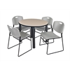 "Kee 36"" Round Breakroom Table- Beige/ Black & 4 Zeng Stack Chairs- Grey"