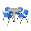 "Kee 36"" Round Breakroom Table- Beige/ Chrome & 4 'M' Stack Chairs- Blue"
