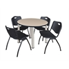 "Kee 36"" Round Breakroom Table- Beige/ Chrome & 4 'M' Stack Chairs- Black"