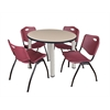 "Kee 36"" Round Breakroom Table- Beige/ Chrome & 4 'M' Stack Chairs- Burgundy"
