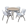 "Kee 36"" Round Breakroom Table- Beige/ Chrome & 4 'M' Stack Chairs- Grey"