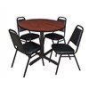 "Cain 36"" Round Breakroom Table- Cherry & 4 Restaurant Stack Chairs- Black"