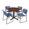 "Cain 36"" Round Breakroom Table- Cherry & 4 Zeng Stack Chairs- Blue"