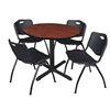 "Cain 36"" Round Breakroom Table- Cherry & 4 'M' Stack Chairs- Black"