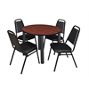 "Kee 36"" Round Breakroom Table- Cherry/ Black & 4 Restaurant Stack Chairs- Black"