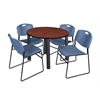 "Kee 36"" Round Breakroom Table- Cherry/ Black & 4 Zeng Stack Chairs- Blue"