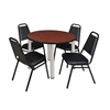 "Kee 36"" Round Breakroom Table- Cherry/ Chrome & 4 Restaurant Stack Chairs- Black"