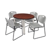 "Kee 36"" Round Breakroom Table- Cherry/ Chrome & 4 Zeng Stack Chairs- Grey"