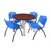 "Kee 36"" Round Breakroom Table- Cherry/ Chrome & 4 'M' Stack Chairs- Blue"