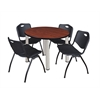 "Kee 36"" Round Breakroom Table- Cherry/ Chrome & 4 'M' Stack Chairs- Black"