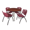 "Kee 36"" Round Breakroom Table- Cherry/ Chrome & 4 'M' Stack Chairs- Burgundy"