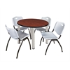"Kee 36"" Round Breakroom Table- Cherry/ Chrome & 4 'M' Stack Chairs- Grey"