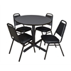 "Cain 36"" Round Breakroom Table- Grey & 4 Restaurant Stack Chairs- Black"
