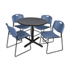 "Cain 36"" Round Breakroom Table- Grey & 4 Zeng Stack Chairs- Blue"