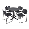 "Cain 36"" Round Breakroom Table- Grey & 4 Zeng Stack Chairs- Black"