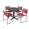 "Cain 36"" Round Breakroom Table- Grey & 4 Zeng Stack Chairs- Burgundy"