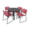 "Kee 36"" Round Breakroom Table- Grey/ Black & 4 Zeng Stack Chairs- Burgundy"