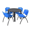 "Kee 36"" Round Breakroom Table- Grey/ Black & 4 'M' Stack Chairs- Blue"