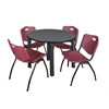 "Kee 36"" Round Breakroom Table- Grey/ Black & 4 'M' Stack Chairs- Burgundy"