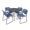 "Kee 36"" Round Breakroom Table- Grey/ Chrome & 4 Zeng Stack Chairs- Blue"