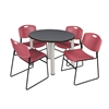 "Kee 36"" Round Breakroom Table- Grey/ Chrome & 4 Zeng Stack Chairs- Burgundy"