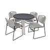 "Kee 36"" Round Breakroom Table- Grey/ Chrome & 4 Zeng Stack Chairs- Grey"