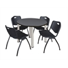 "Kee 36"" Round Breakroom Table- Grey/ Chrome & 4 'M' Stack Chairs- Black"