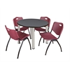 "Kee 36"" Round Breakroom Table- Grey/ Chrome & 4 'M' Stack Chairs- Burgundy"