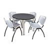 "Kee 36"" Round Breakroom Table- Grey/ Chrome & 4 'M' Stack Chairs- Grey"
