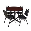 "Cain 36"" Round Breakroom Table- Mahogany & 4 Restaurant Stack Chairs- Black"