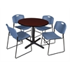"""Cain 36"""" Round Breakroom Table- Mahogany & 4 Zeng Stack Chairs- Blue"""