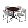 "Cain 36"" Round Breakroom Table- Mahogany & 4 Zeng Stack Chairs- Grey"