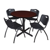"Cain 36"" Round Breakroom Table- Mahogany & 4 'M' Stack Chairs- Black"
