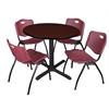 "Cain 36"" Round Breakroom Table- Mahogany & 4 'M' Stack Chairs- Burgundy"