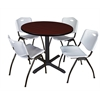 "Cain 36"" Round Breakroom Table- Mahogany & 4 'M' Stack Chairs- Grey"