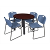 "Kee 36"" Round Breakroom Table- Mahogany/ Black & 4 Zeng Stack Chairs- Blue"