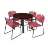 "Kee 36"" Round Breakroom Table- Mahogany/ Black & 4 Zeng Stack Chairs- Burgundy"