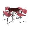 "Kee 36"" Round Breakroom Table- Mahogany/ Chrome & 4 Zeng Stack Chairs- Burgundy"