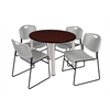 "Kee 36"" Round Breakroom Table- Mahogany/ Chrome & 4 Zeng Stack Chairs- Grey"