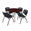 "Kee 36"" Round Breakroom Table- Mahogany/ Chrome & 4 'M' Stack Chairs- Black"