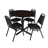 "Cain 36"" Round Breakroom Table- Mocha Walnut & 4 Restaurant Stack Chairs- Black"